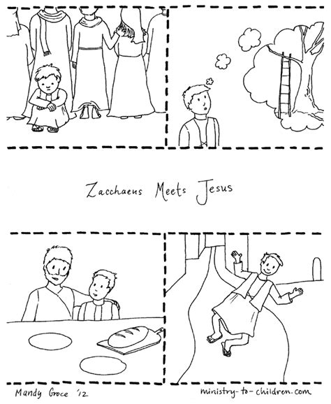 Coloring Page Zacchaeus Jesus by Free Zacchaeus In Tree Coloring Pages