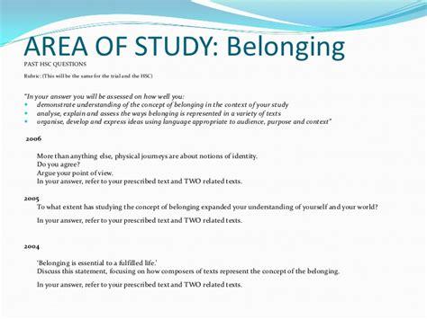 Hsc Belonging Essay Questions