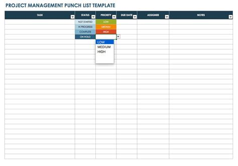 free punch list template project list template to do list template project list