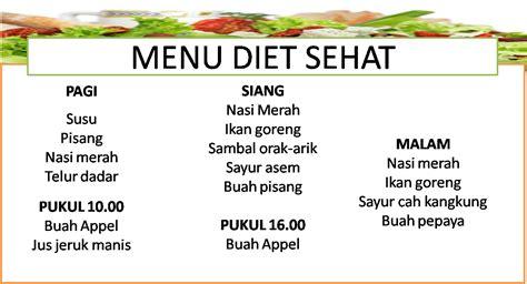 menu diet sehat cepat menurunkan berat badan resep hari