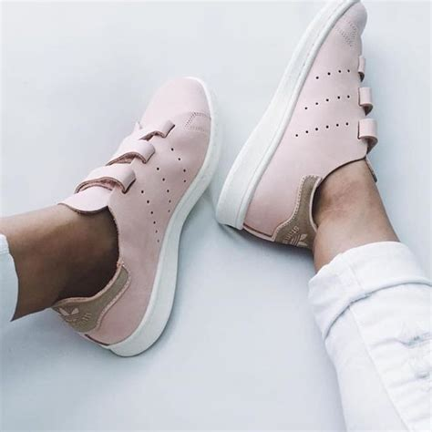 adidas vapour pink velcro stan smith cf s fashion shoes on carousell