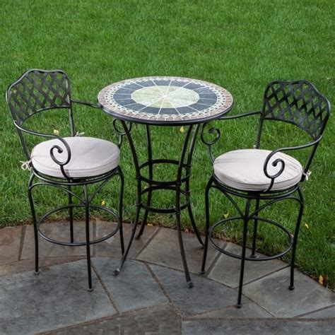patio furniture bistro 30 quot ponte marble mosaic bar height bistro