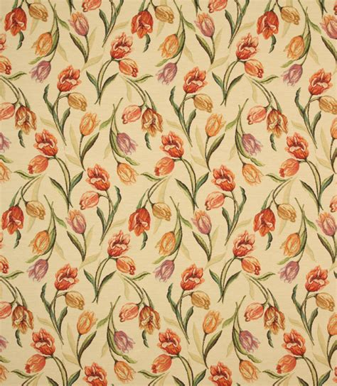 tapestry curtain fabric uk tulip tapestry fabric orange just fabrics