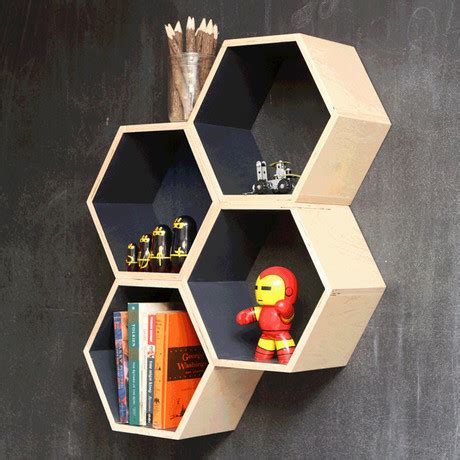 grey hexagon bookshelf industrial san francisco by