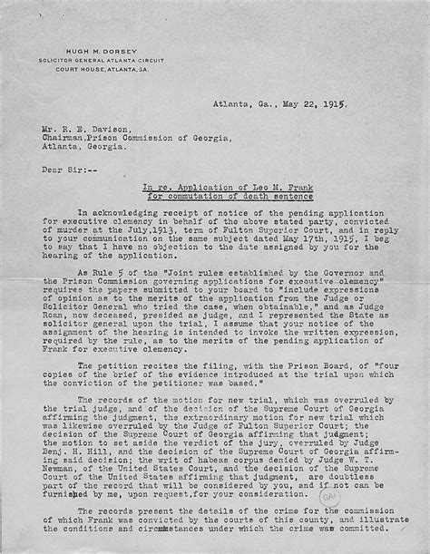 Sle Petition Letter For Pardon To Governor Leo Frank Clemency Murderpedia The Encyclopedia Of