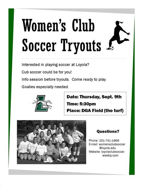 tryout flyer loyola women s club soccer