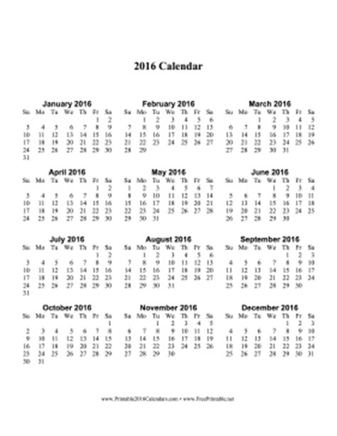 printable vertical year planner 2016 printable 2016 calendar one page with large print vertical