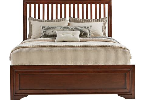 rooms to go king beds belcourt cherry 3 pc king slat bed beds dark wood