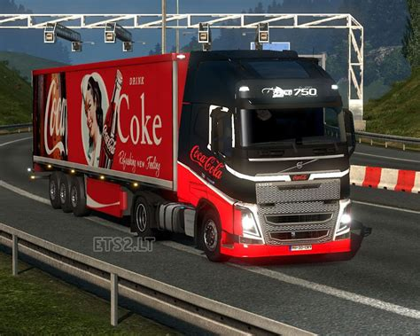 volvo trailer coca cola volvo skin and trailer ets 2 mods