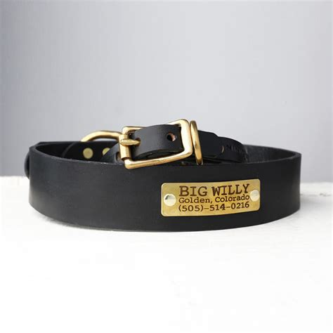 personalized black leather collar belt buckle style
