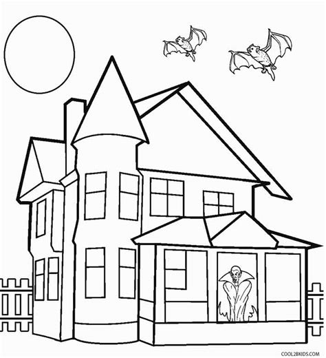 a coloring page of a house printable haunted house coloring pages for kids cool2bkids