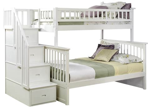 twin bunk beds white 1805 00 columbia staircase twin over full bunk bed