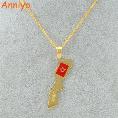 aliexpress maroc anniyo maroc map pendant necklace moroccan gold color