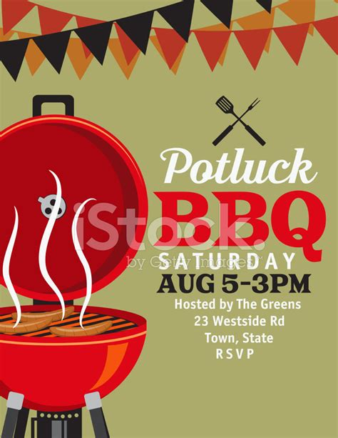 Bbq Invitation With Banner Flags Template stock photos