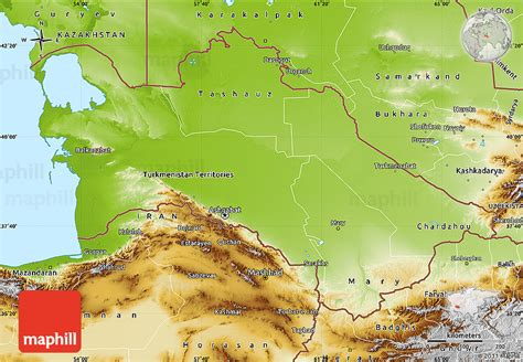 physical map of turkmenistan physical map of turkmenistan