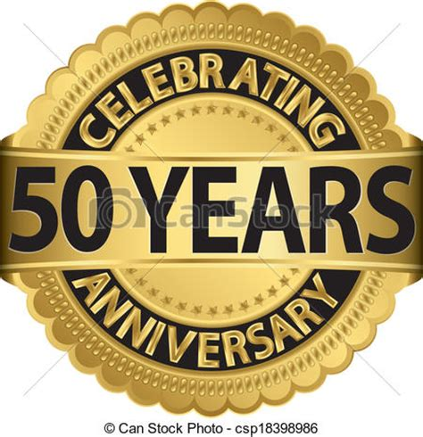 fifty years of illustration 1780672799 vector of celebrating 50 years anniversary golden label with ribbon csp18398986 search