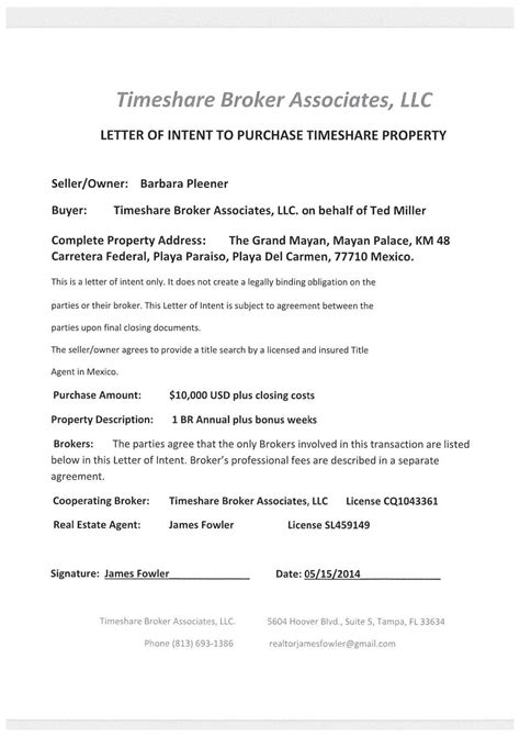 Letter Of Intent To Purchase Timeshare Timeshare Fraud Alert Fowler Ted Miller Scam