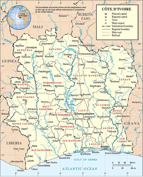 cote d ivoire africa map detailed administrative map of cote d ivoire cote d