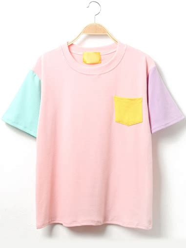 color block t shirt color block sleeve t shirt with pocket