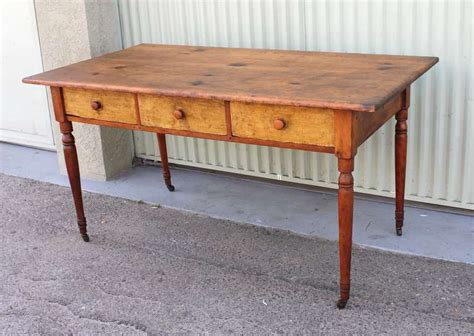 19th century new three drawer farm table desk for