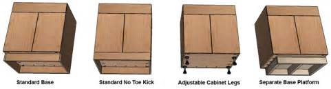kitchen cabinet toe kick options how to build frameless base cabinets