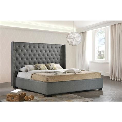 king wingback bed luxeo newport gray king upholstered bed lux k6368 gry
