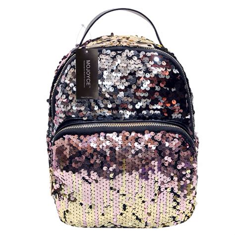 tas back pack miniso mojoyce new arrival all match bag pu leather sequins