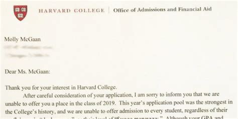 Harvard Rejection Letter Viral Somebody Give This High Schooler An Award For Harvard Rejection Letter
