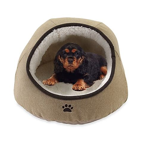 covered dog bed precious tails felt paw embroidered dome pet bed bed