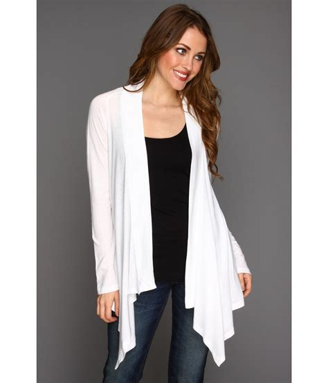 white drape cardigan splendid very light jersey drape cardigan in white lyst