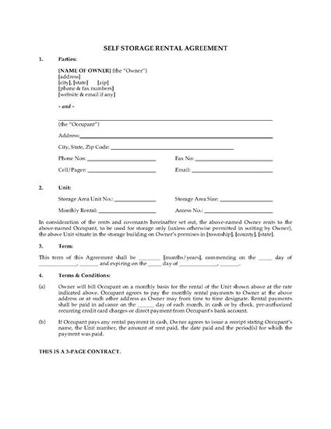 self storage business plan template usa self storage unit rental agreement forms and