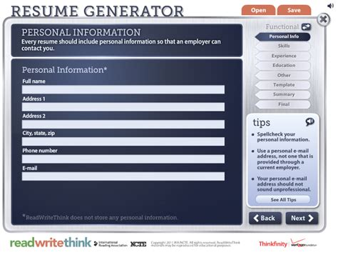 10 free resume creators cv tuesday tech tip 34 readwritethink org interactive search