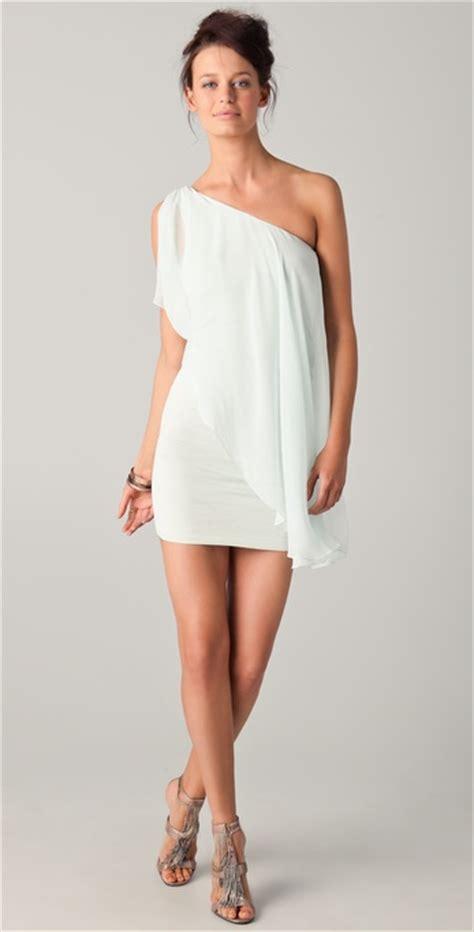 draped white dress alice olivia draped one shoulder dress in white aqua