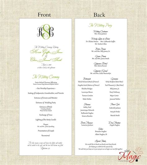 7 best images of free printable wedding programs diy