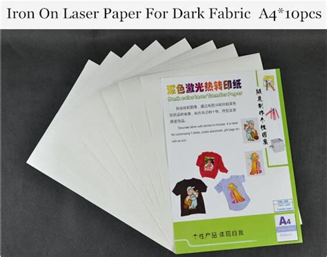 laser printer iron on transfer paper for dark fabric a4 10pcs iron on color laser heat transfer paper for