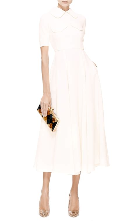 Dress Emilia lyst emilia wickstead wool crepe midi dress in white