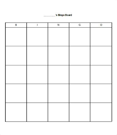 empty bingo card template free bingo card 8 free word pdf documents