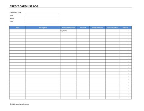 Excel Template Credit Card Payoff Credit Card Use Log Template Excel Templates Excel
