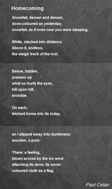 homecoming poem  paul celan poem hunter