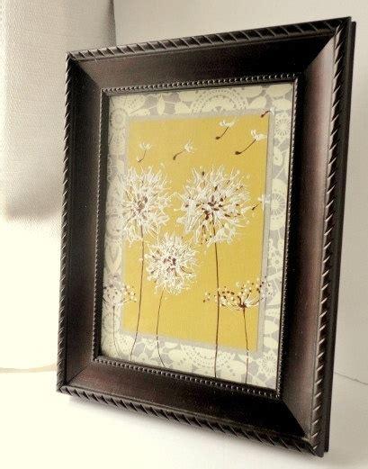 mustard home decor yellow and grey painted dandelion art original artwork