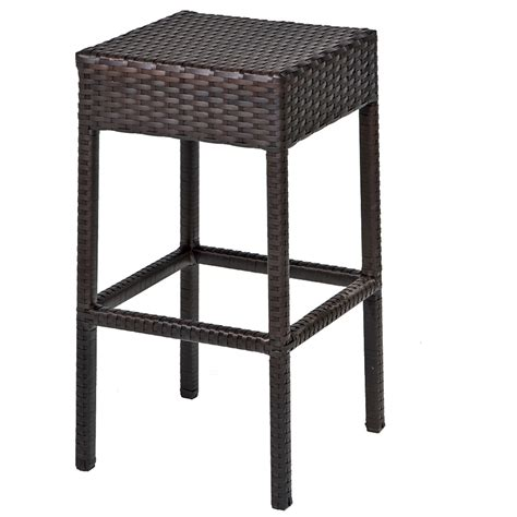 Outdoor Wicker Bar Stool Bar Table Set Backless Barstools Patio Garden Furniture