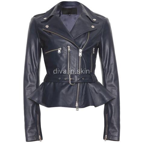 winter motorcycle jacket lambskin leather tailor made peplum biker jacket blazer