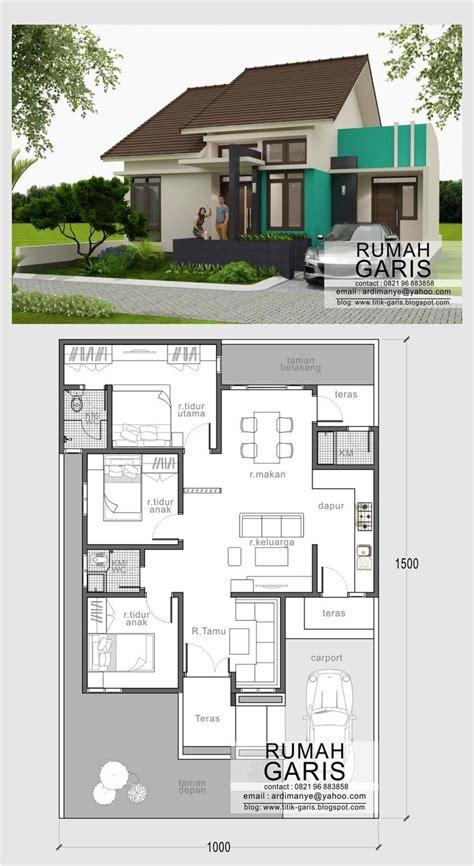 denah  tampak rumah sederhana minimalis tipe rumah    lahan  rumah pinterest