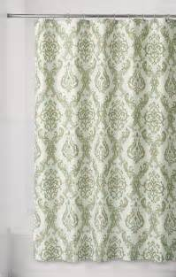 Essential home green damask fabric shower curtain