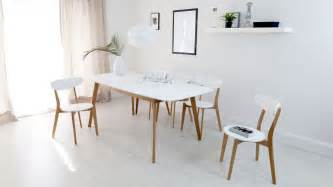 Discounted Modern Furniture by Modern White And Oak Extending Dining Set Dining Chairs