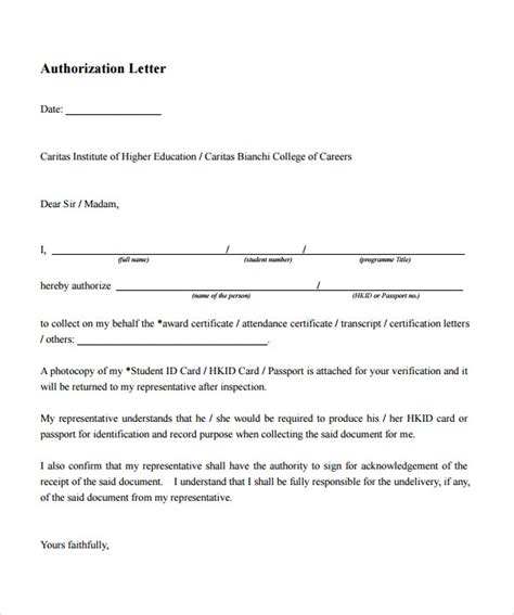 exle of authorization letter in 8 exle of authorization letter templates to