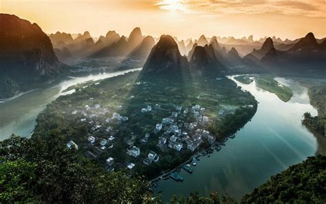 nature landscape river sun rays mountain mist china