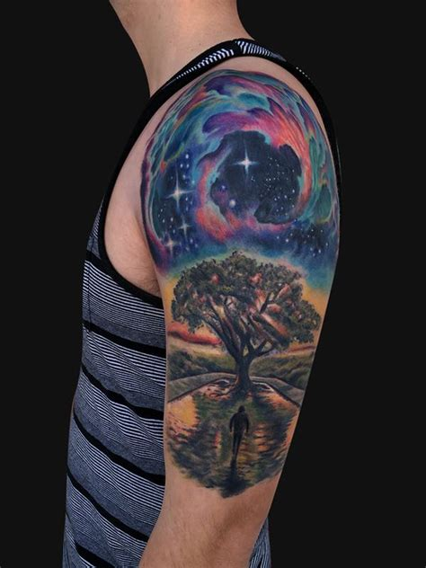 outer space tree tattoo half sleeve by jamie lee parker