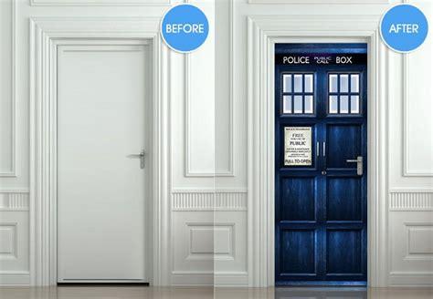 Tardis Door Cling by Step Into Tardis Box Door Decals