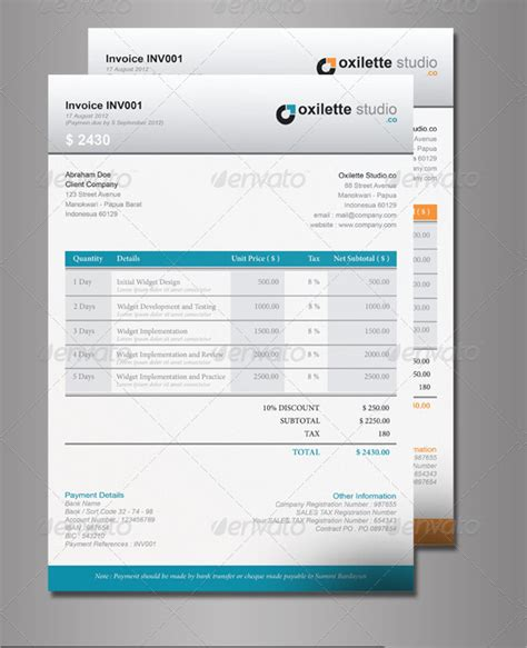 indesign invoice template 7 free indesign format